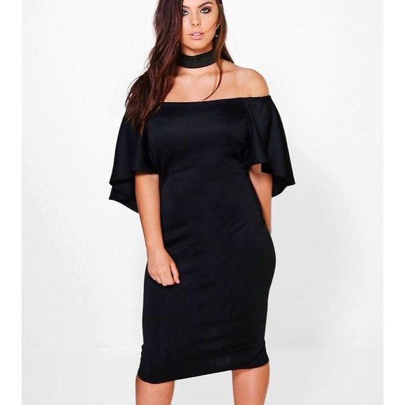 Drape Sleeve Choker Midi Dress